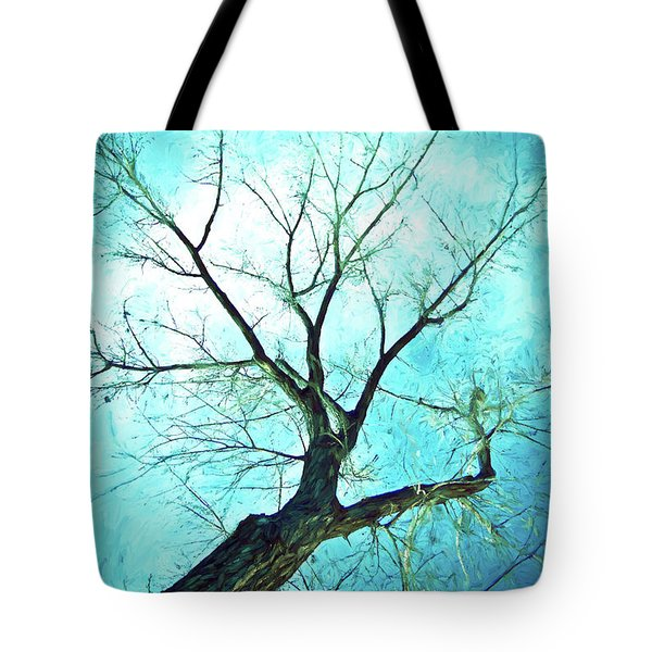 Tote Bag featuring the photograph Winter Tree Blue  by James BO Insogna