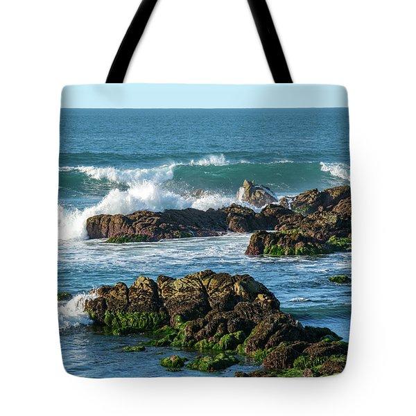 Winter Waves Hit Ancient Rocks No. 1 Tote Bag