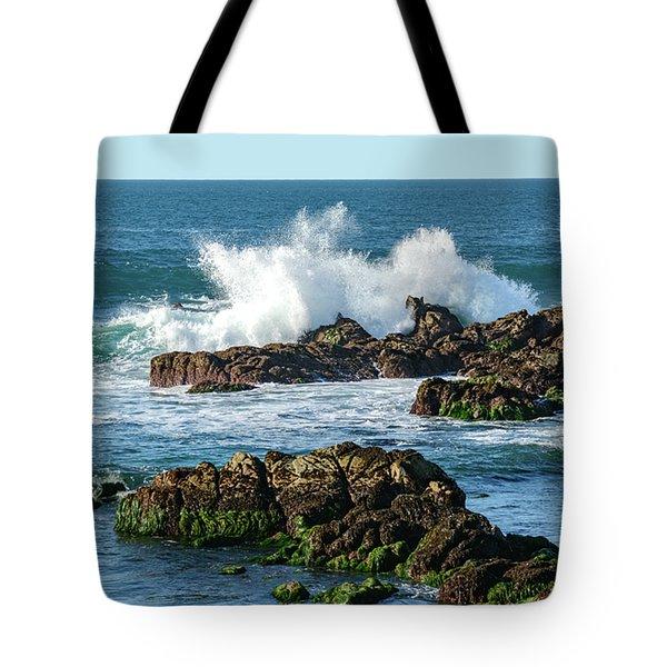 Winter Waves Hit Ancient Rocks No. 2 Tote Bag