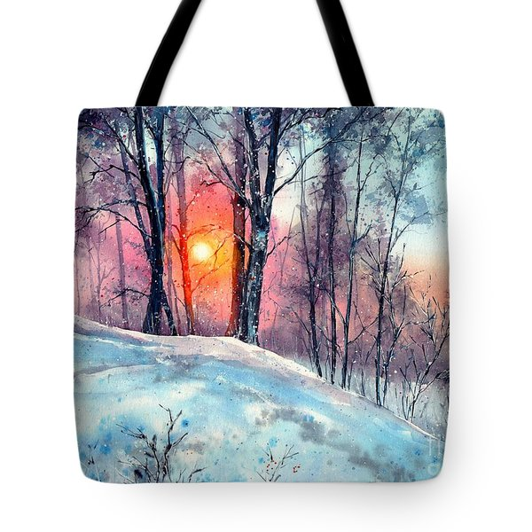 Winter Woodland In The Sun Tote Bag