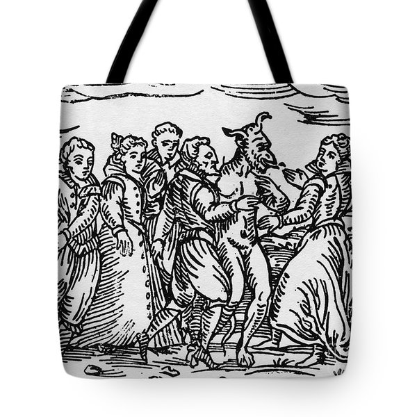 Witches Dancing With The Devil, Illustration From Compendium Maleficarum By Francesco Maria Guazzo Tote Bag