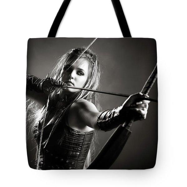 Woman Archer Aiming Arrow Tote Bag
