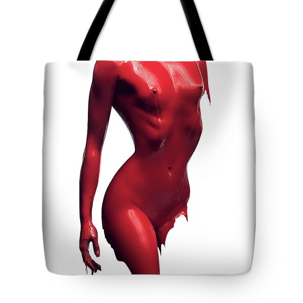 Woman Body Red Paint Tote Bag