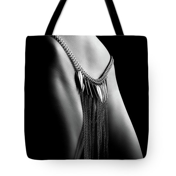 Woman Close-up Chain Panty Tote Bag