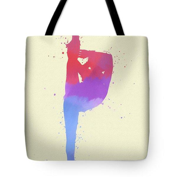Woman Figure Skater Paint Splatter Tote Bag