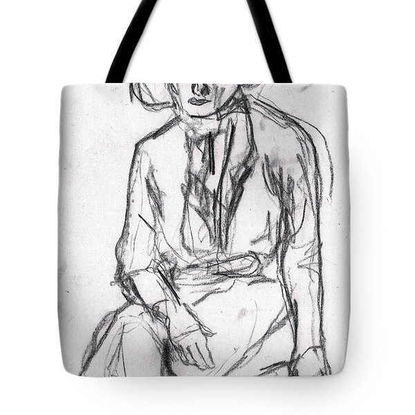 Woman In A Hat Drawing Tote Bag