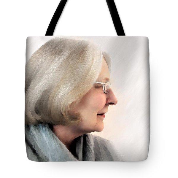 Woman In Grey Tote Bag