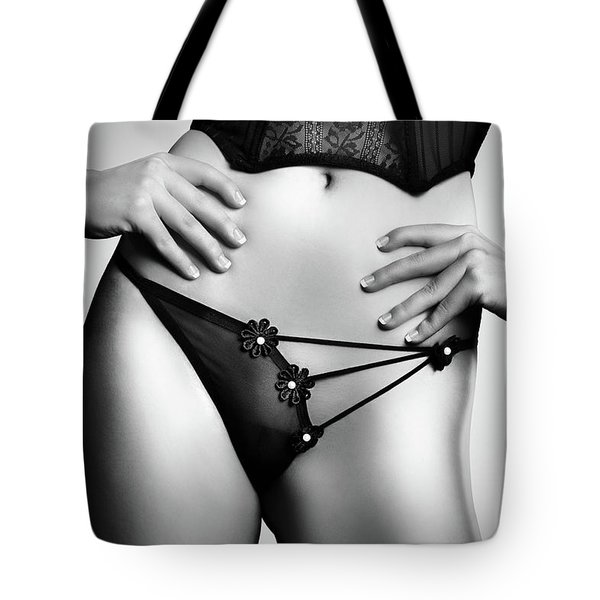 Woman In Lingerie Tote Bag