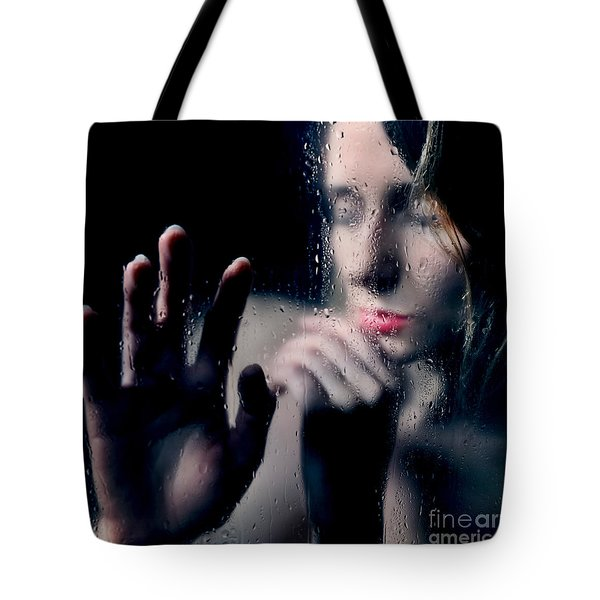 Woman Portrait Behind Glass With Rain Drops Tote Bag