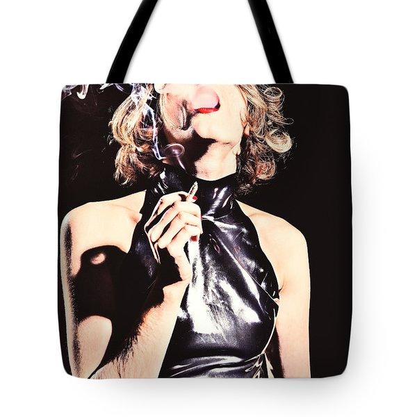 Woman Smoking A Cigarette Tote Bag