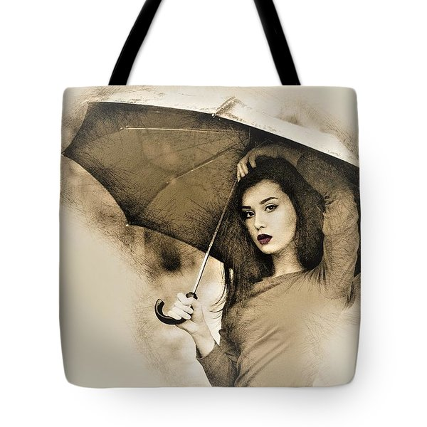 Woman With A Umbrella Tote Bag