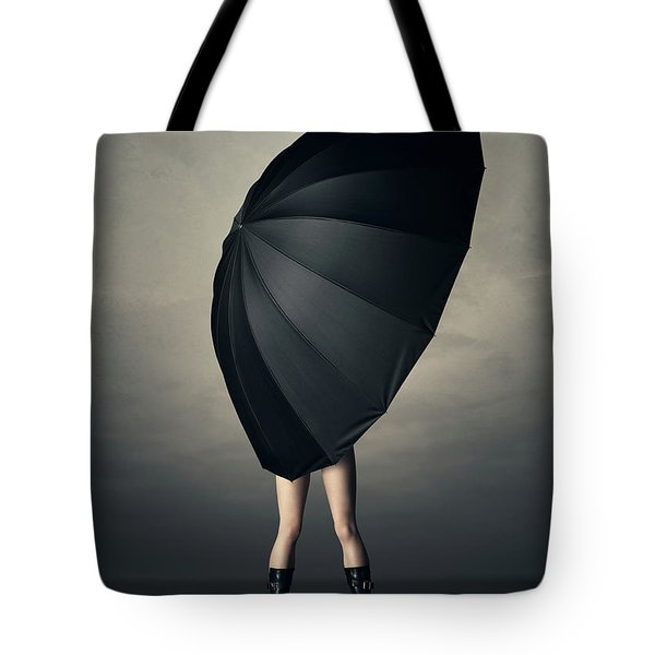 Woman With Huge Umbrella Tote Bag