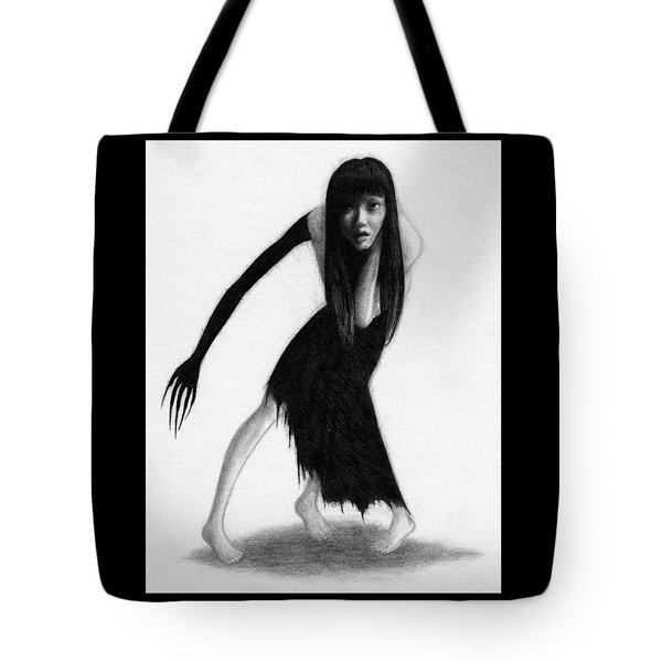 Tote Bag featuring the drawing Woman With The Black Arm Of Demon Ghost Artwork by Ryan Nieves