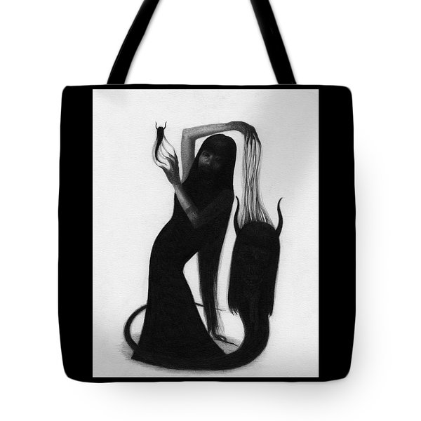 Tote Bag featuring the drawing Woman With The Demons Fingertips - Artwork by Ryan Nieves