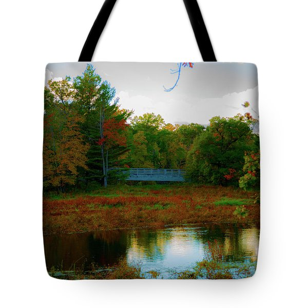 Wood Bridge In The Fall Tote Bag