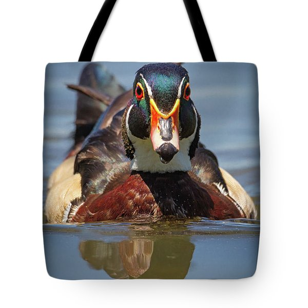 Wood Duck Face First Tote Bag