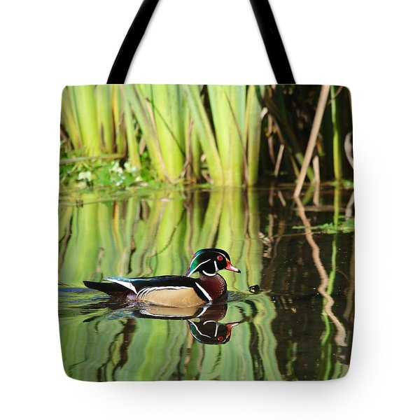 Wood Duck Reflection 1 Tote Bag