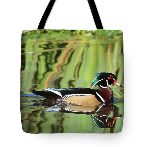 Wood Duck Reflection 2 Tote Bag