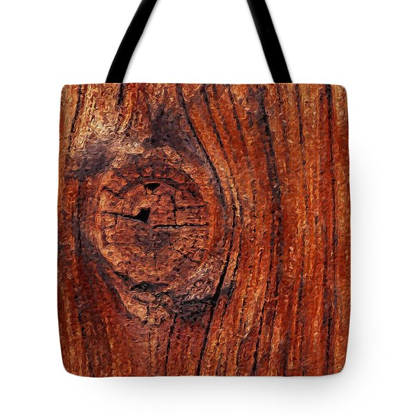 Tote Bag featuring the digital art Wood Knot by ISAW Company