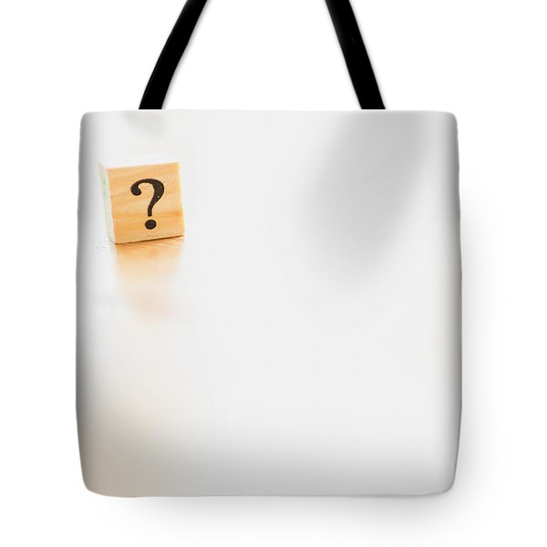 Wooden Dice With Question Mark And Doubt. Tote Bag