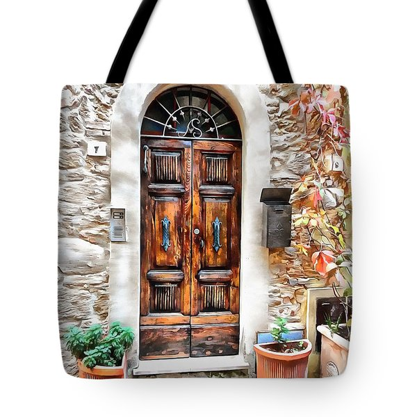 Tote Bag featuring the photograph Wooden Door Pienza by Dorothy Berry-Lound