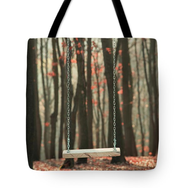 Wooden Swing In Autumn Forest Tote Bag