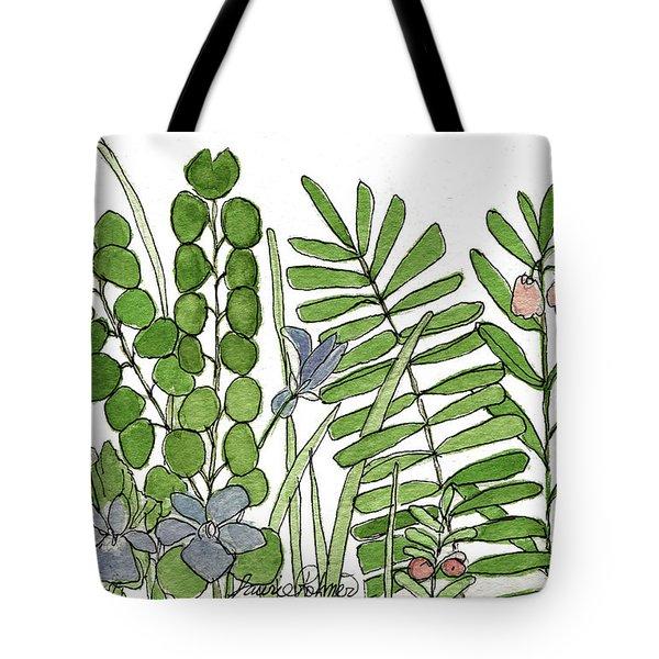 Woodland Ferns Violets Nature Illustration Tote Bag