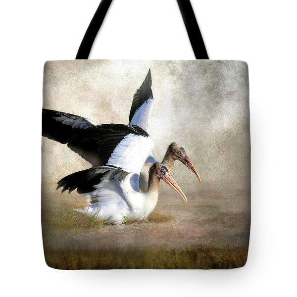 Wood Stork Siblings In The Marsh Tote Bag