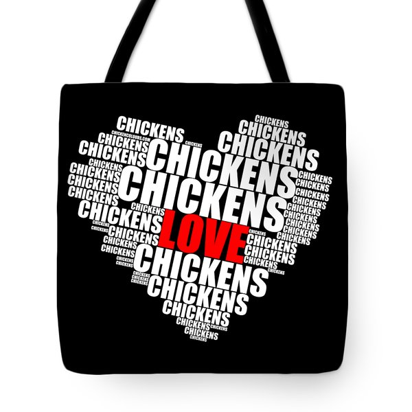 Word Cloud White Love Chickens Tote Bag