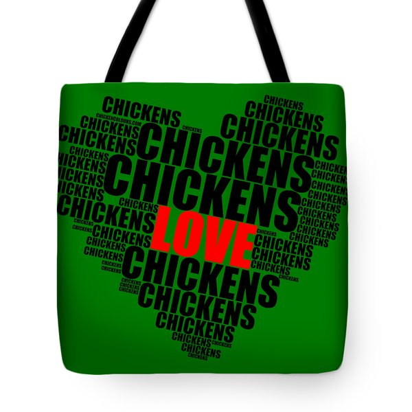 Wordcloud Love Chickens Black Tote Bag