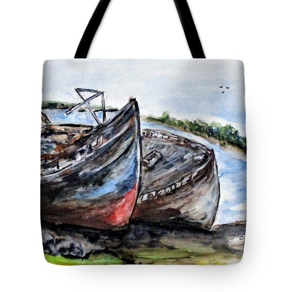 Wrecked River Boats Tote Bag