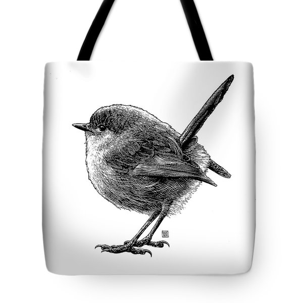 Tote Bag featuring the drawing Wren by Clint Hansen