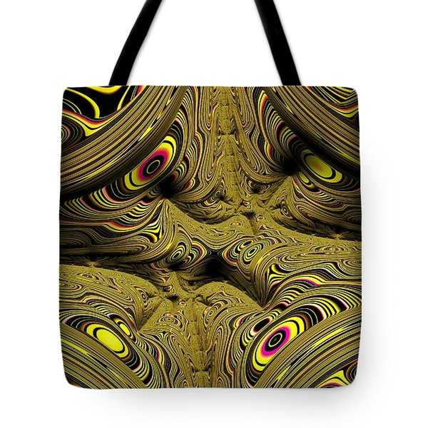 Tote Bag featuring the digital art Wrinkles And Eyes Yellow Fractal Abstract by Shelli Fitzpatrick