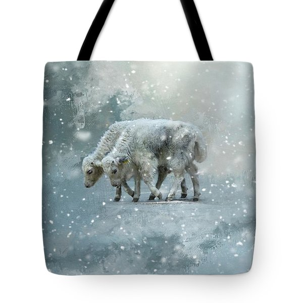 Yaks Calves In A Snowstorm Tote Bag