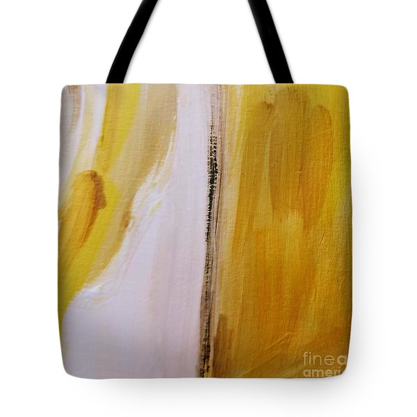 Tote Bag featuring the painting Yellow #5 by Maria Langgle