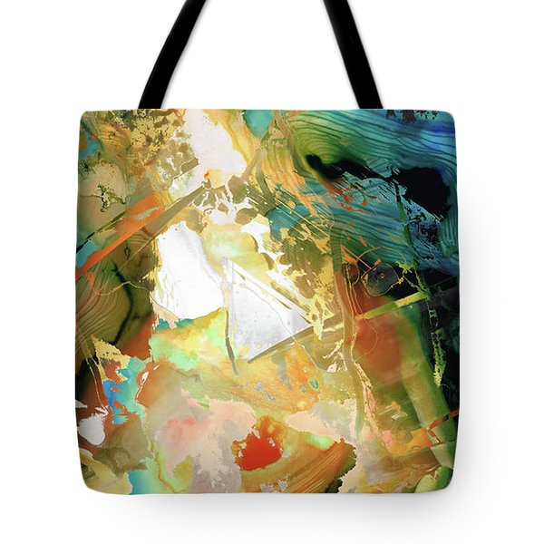 Yellow And Blue Abstract - Adaptation - Sharon Cummings Tote Bag