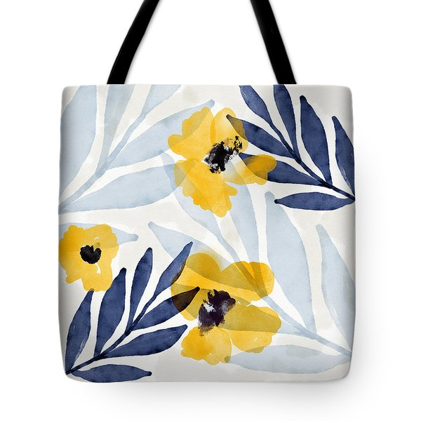 Yellow And Navy 2- Floral Art By Linda Woods Tote Bag