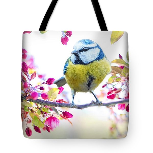 Yellow Blue Bird With Flowers Tote Bag