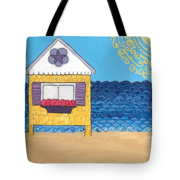 Yellow Cottage On The Beach Tote Bag
