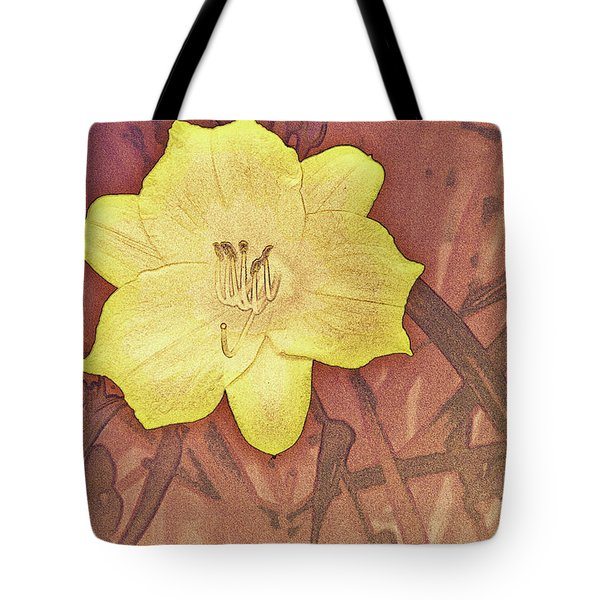 Yellow Day Lily Stencil On Sandstone Tote Bag