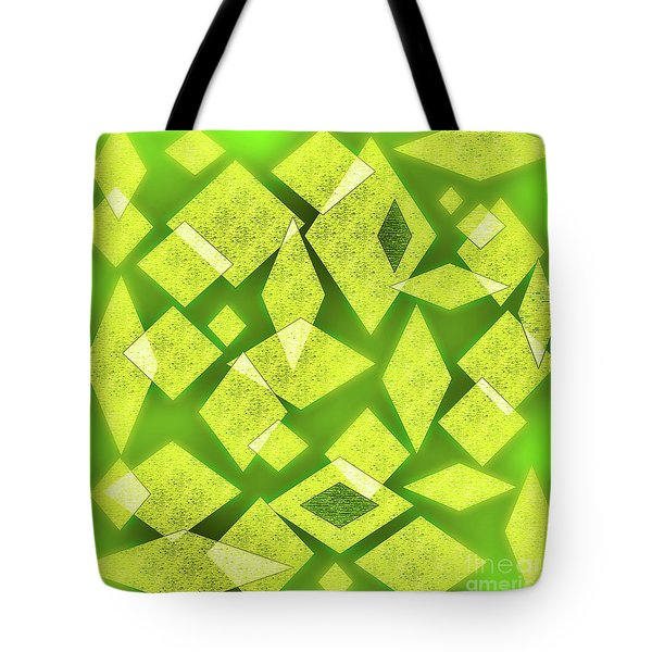 Yellow Diamonds On Green Tote Bag