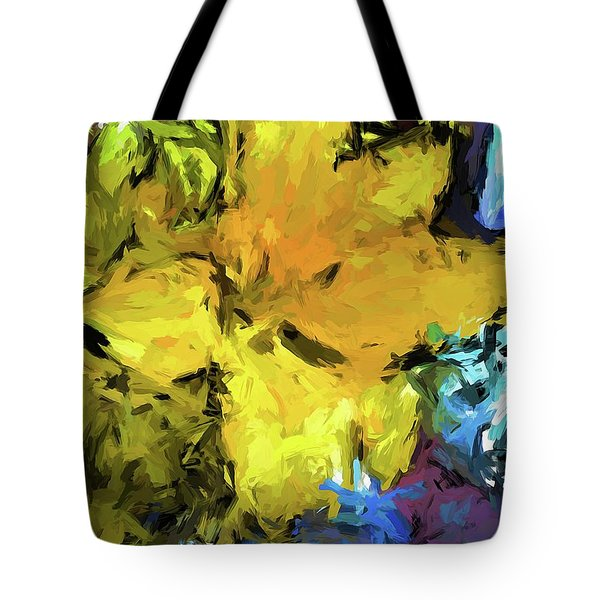 Yellow Flower And The Eggplant Floor Tote Bag