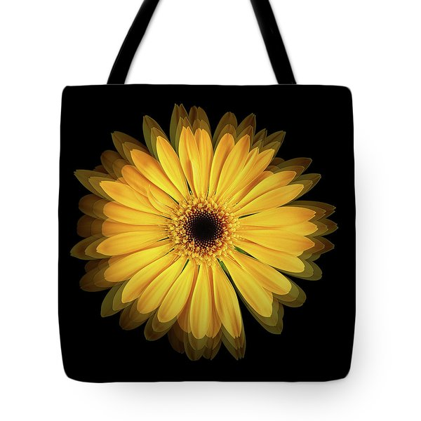 Tote Bag featuring the photograph Yellow Gerbera Daisy Repetitions by Bill Swartwout Fine Art Photography