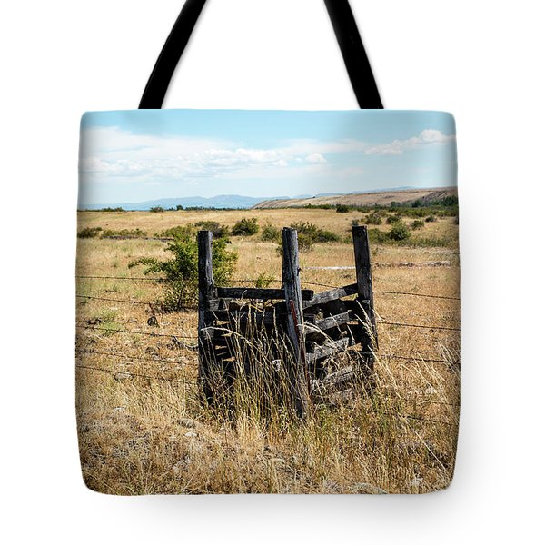 Yellow Grass And Fence Anchor Tote Bag