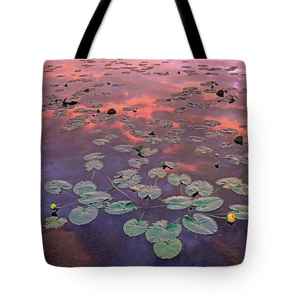 Yellow Pond Lilies At Sunset, North Tote Bag