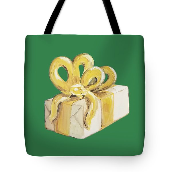 Tote Bag featuring the painting Yellow Present by Maria Langgle