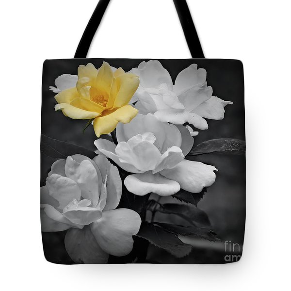 Yellow Rose Cluster Partial Color Tote Bag