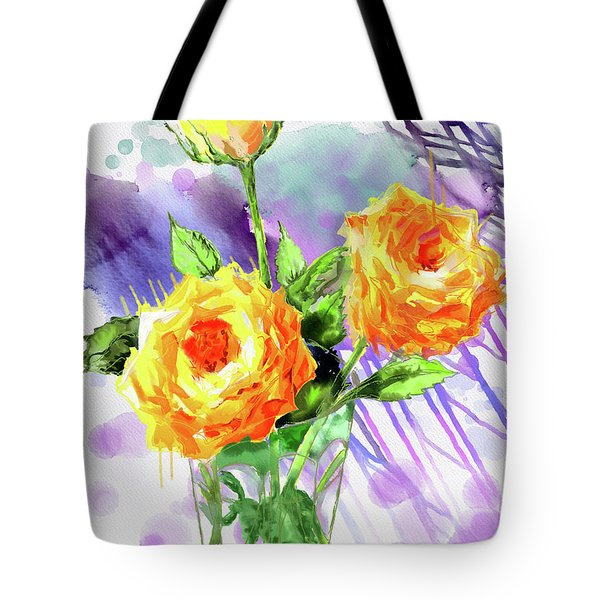 Yellow Roses In A Glass Tote Bag