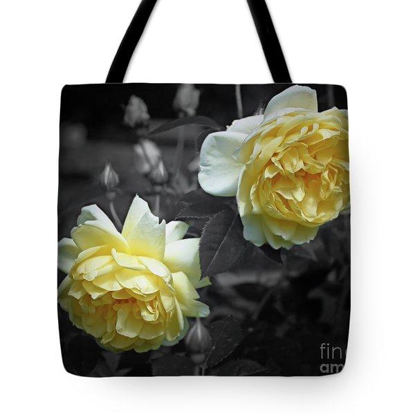 Yellow Roses Partial Color Tote Bag