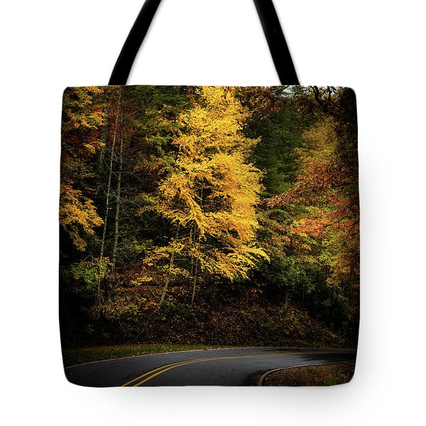 Tote Bag featuring the photograph Yellow Tree In The Curve by Chrystal Mimbs